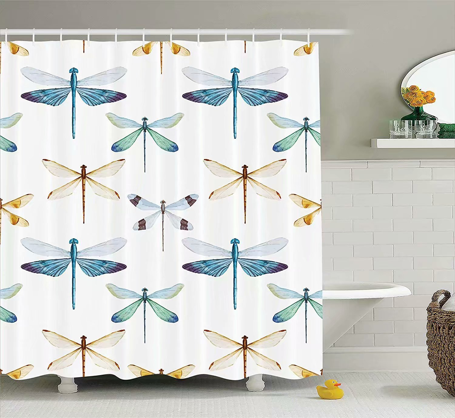 KANATSIU Collection Regularly Dragonfly Pattern Composition Bugs Shower Curtain 12 plactic Hooks,100% Made Polyester,Mildew Resistant & Machine Washable,Width x Height is 72x72
