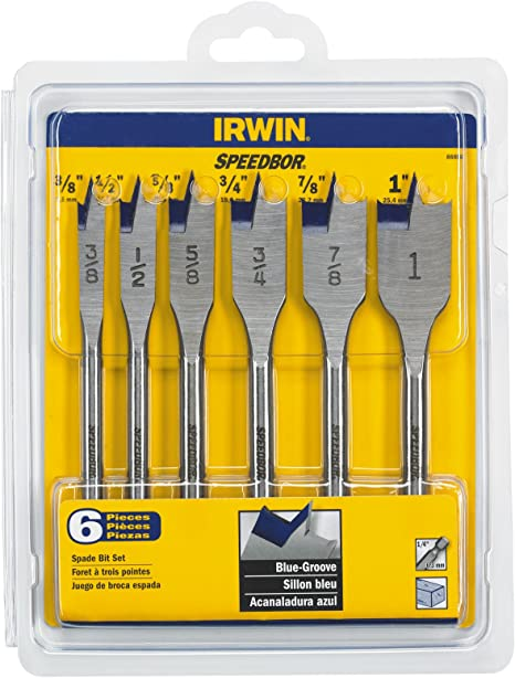 """3//8/"""" to 1/"""" Fits all standard quick change chucks Solid polycarbonate case for organization Universal quick change 6 Piece Heavy Duty Spade Bits for Drill Edward Tools Spade Bit Set with Case"""