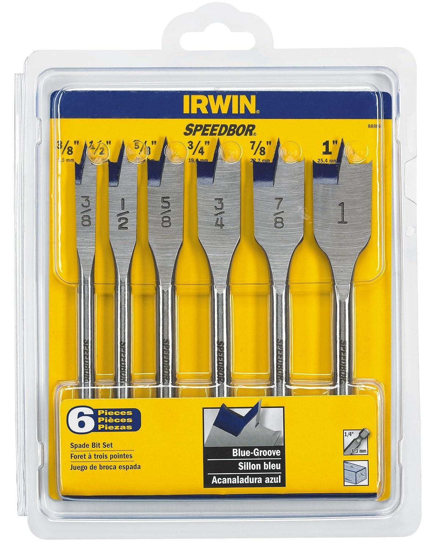 IRWIN Tools SPEEDBOR Spade Bit Standard-Length 88886 6-Piece Set