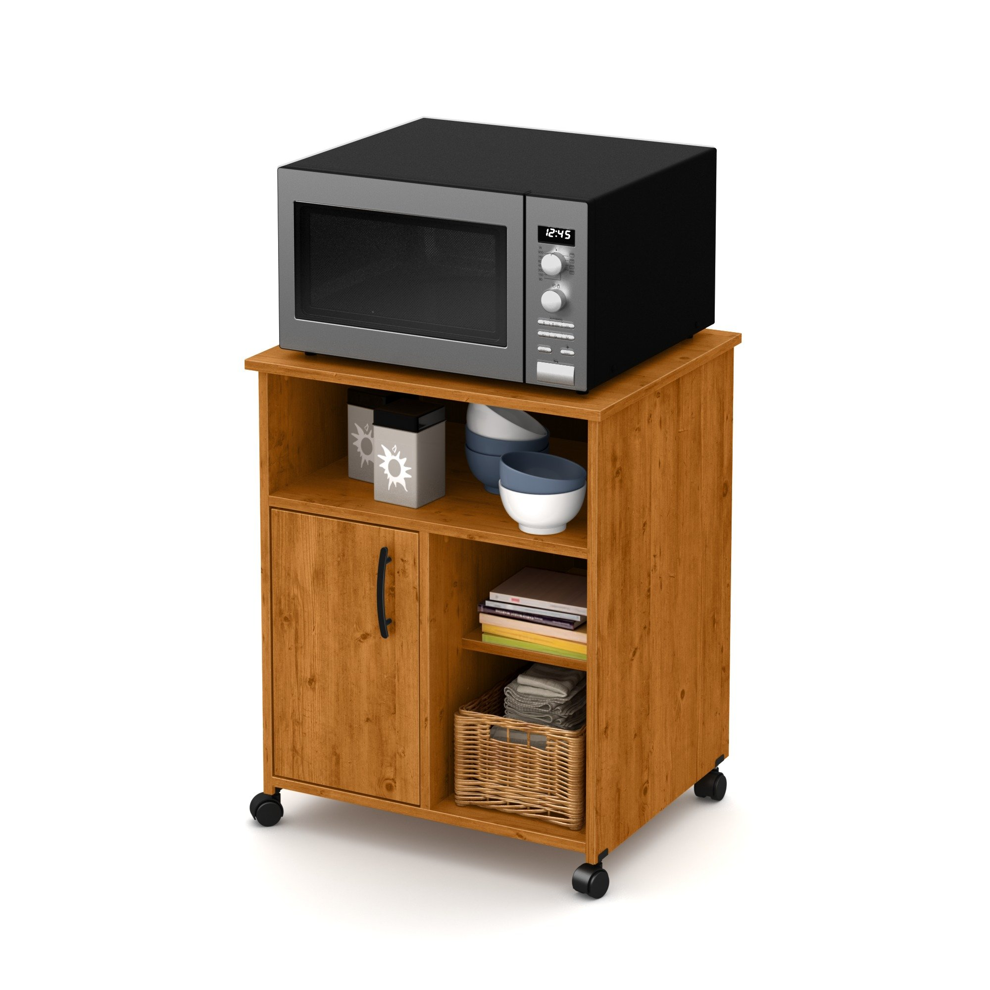 South Shore Axess Microwave Cart with Storage on Wheels, Country Pine by South Shore (Image #7)