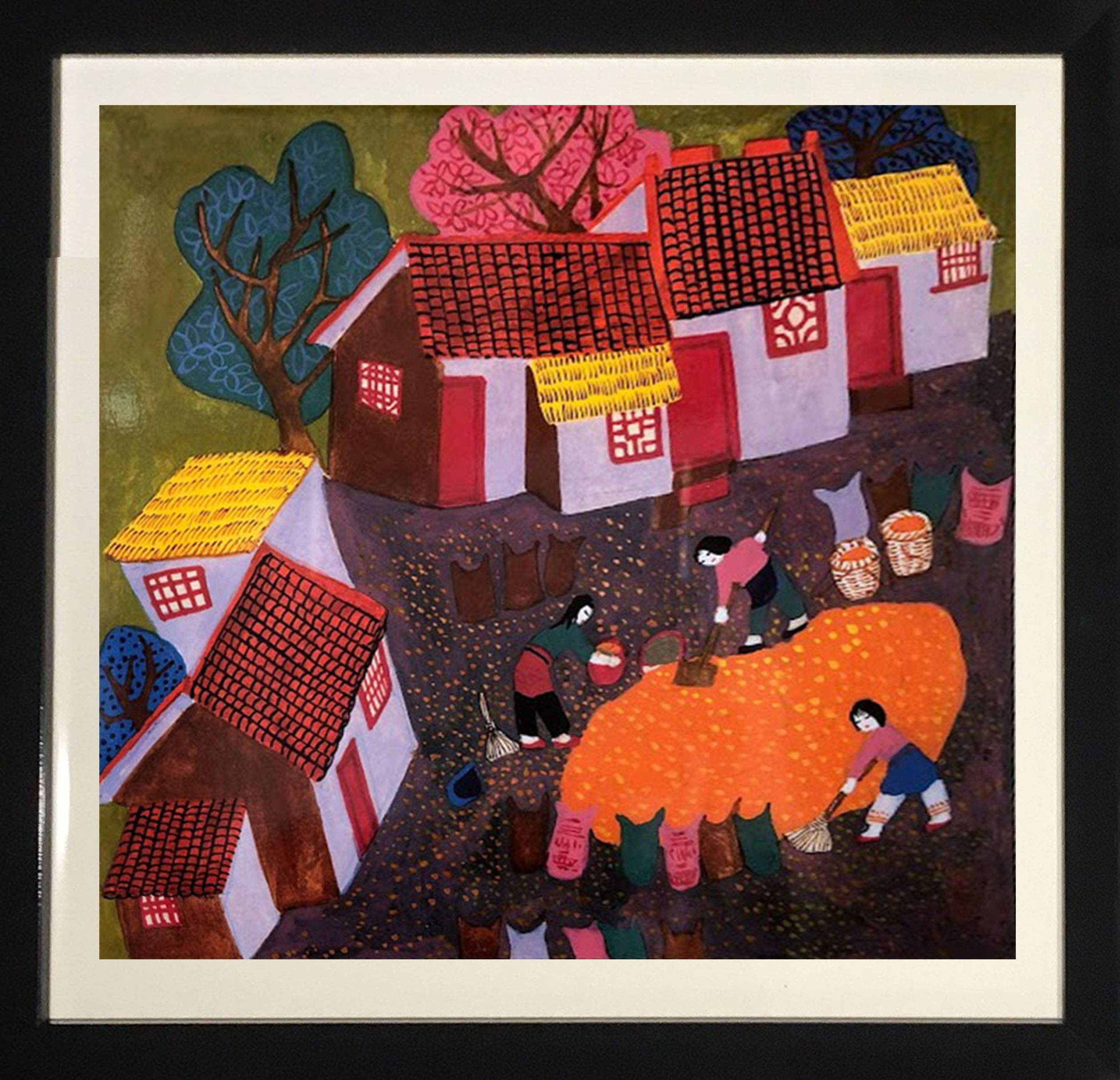 Framed Art''The Village'' by Adell Hicks by