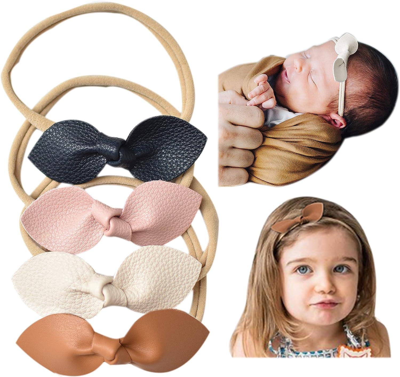 Pastel Pink Headband Set Baby Girl Bows Small Nylon Bow Set