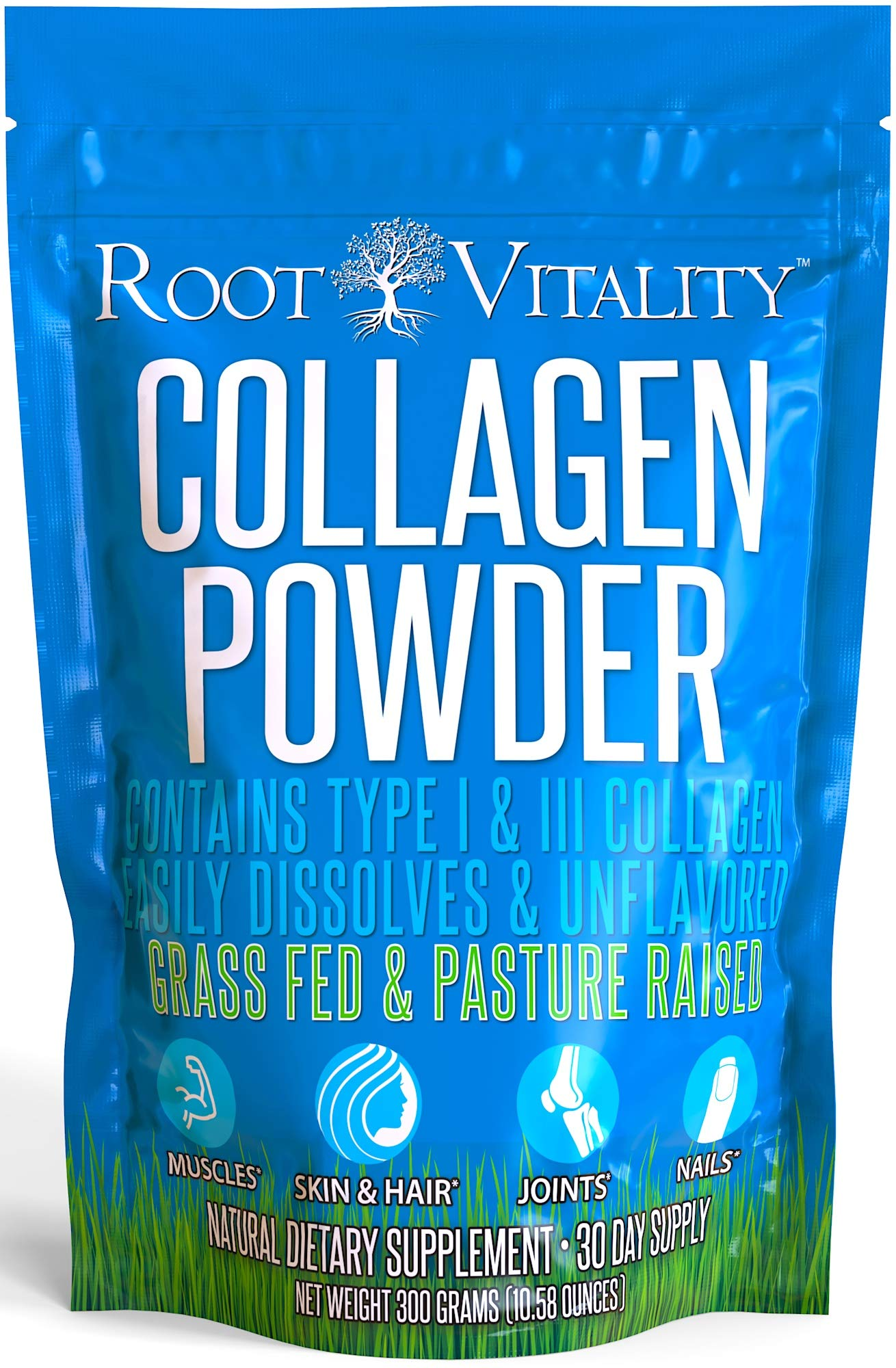 Root Vitality Collagen Powder, Collagen Peptides, Grass Fed, Premium Quality Collagen Protein,