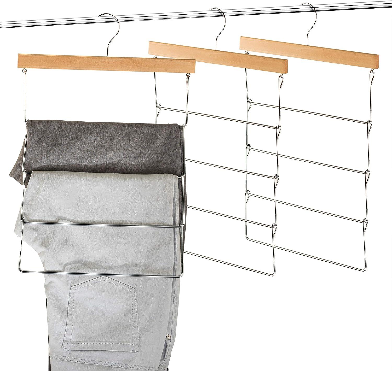 High-Grade 4 Tier Wooden Pants Rack Hangers Non Slip (3 Pack) Rubber Coated Hangers, Slim & Space Saving Hanger [Hang 4 ON 1] 360° Hook, Anti-Rust Durable Metal Pants Hangers for Trousers, Blankets...