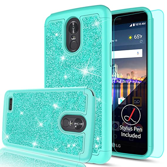 finest selection 1527b bff91 LG Stylo 3 Case, LG Stylo 3 Plus/Stylus 3 Glitter Phone Case,LeYi Hybrid  Heavy Duty Protection [PC Silicone Leather + HD Screen Protector] Cute  Girls ...