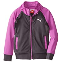 PUMA Little Girls' Ruffled Color-Block Track Jacket