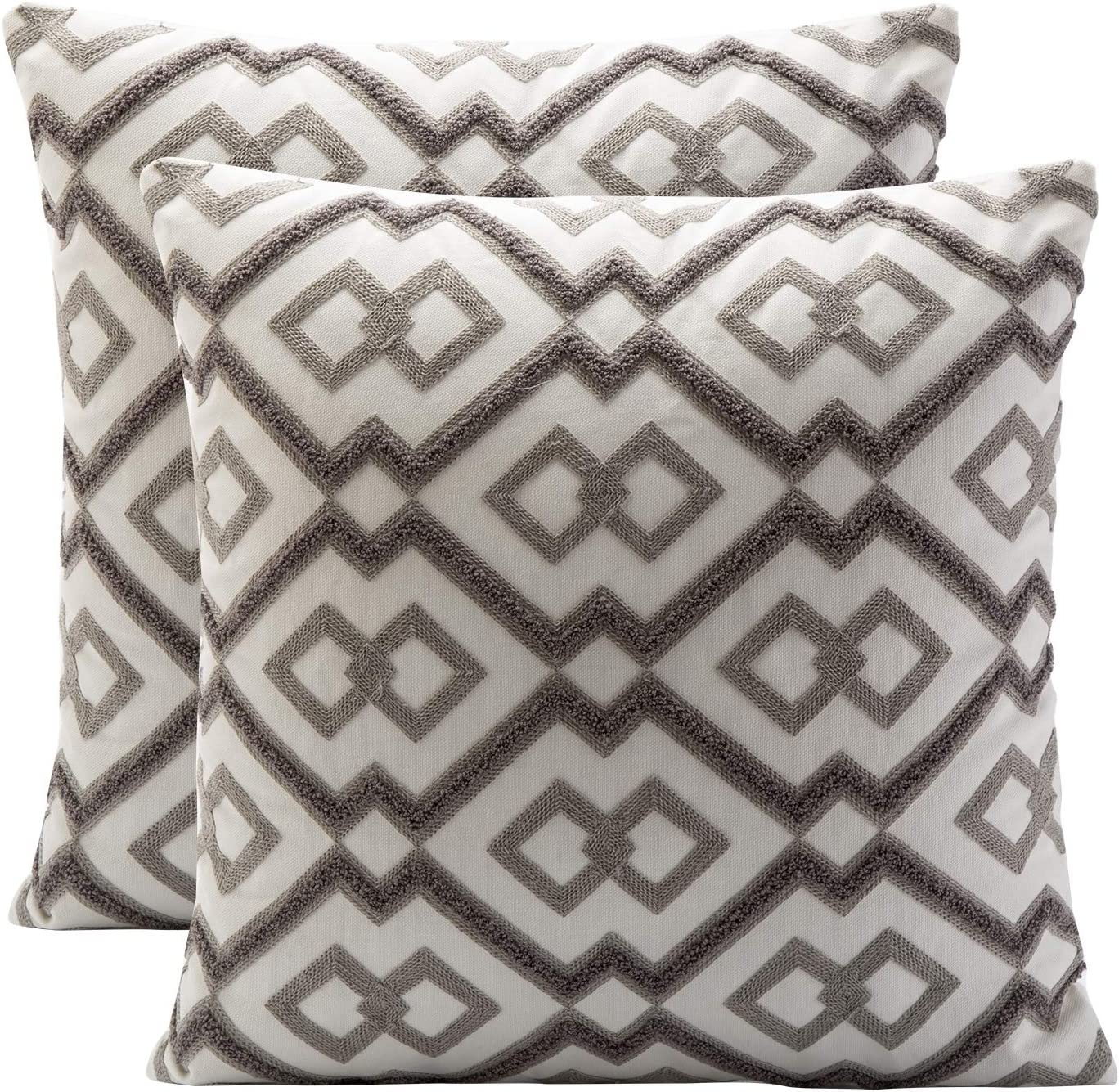 BOYSUM Set of 2 Morocco Boho Diamond Decorative Pillow Covers Cotton Washed Linen Pillow Covers Boho Geometric Throw Pillow Cases for Couch Sofa Cushion Cover Home Decor 18 x 18 inches,Gray