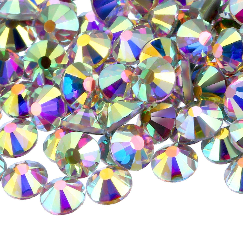 WILLBOND 1440 Pack Hot Fix AB Crystals Flatback Hotfix Rhinestones Round Gems Glass Stones (Crystal AB, 5MM)