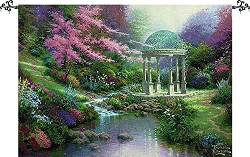 Manual Woodworkers Weavers Tapestry Wall Hanging, Thomas Kinkade Pools of Serenity, 70 x 50-Inch