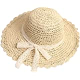Summer Beach Sun Straw Hats for Toddler Kids Girls Wide Brim Lace Bow Floppy Packable Travel Bucket Hats UPF 50+ Crushable UV Fishing Cap Foldable Sun Protection Hat with Chin Strap,51-53cm