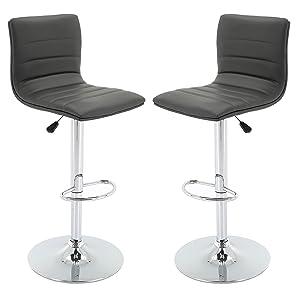 Vogue Furniture Direct Grey Leather Barstool Set (Set of 2) VF1581025…