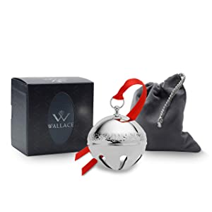 Wallace 2019 Silver-Plate Sleigh Bell-49th Edition (Holly & Ornaments) Holiday Ornament, Metal