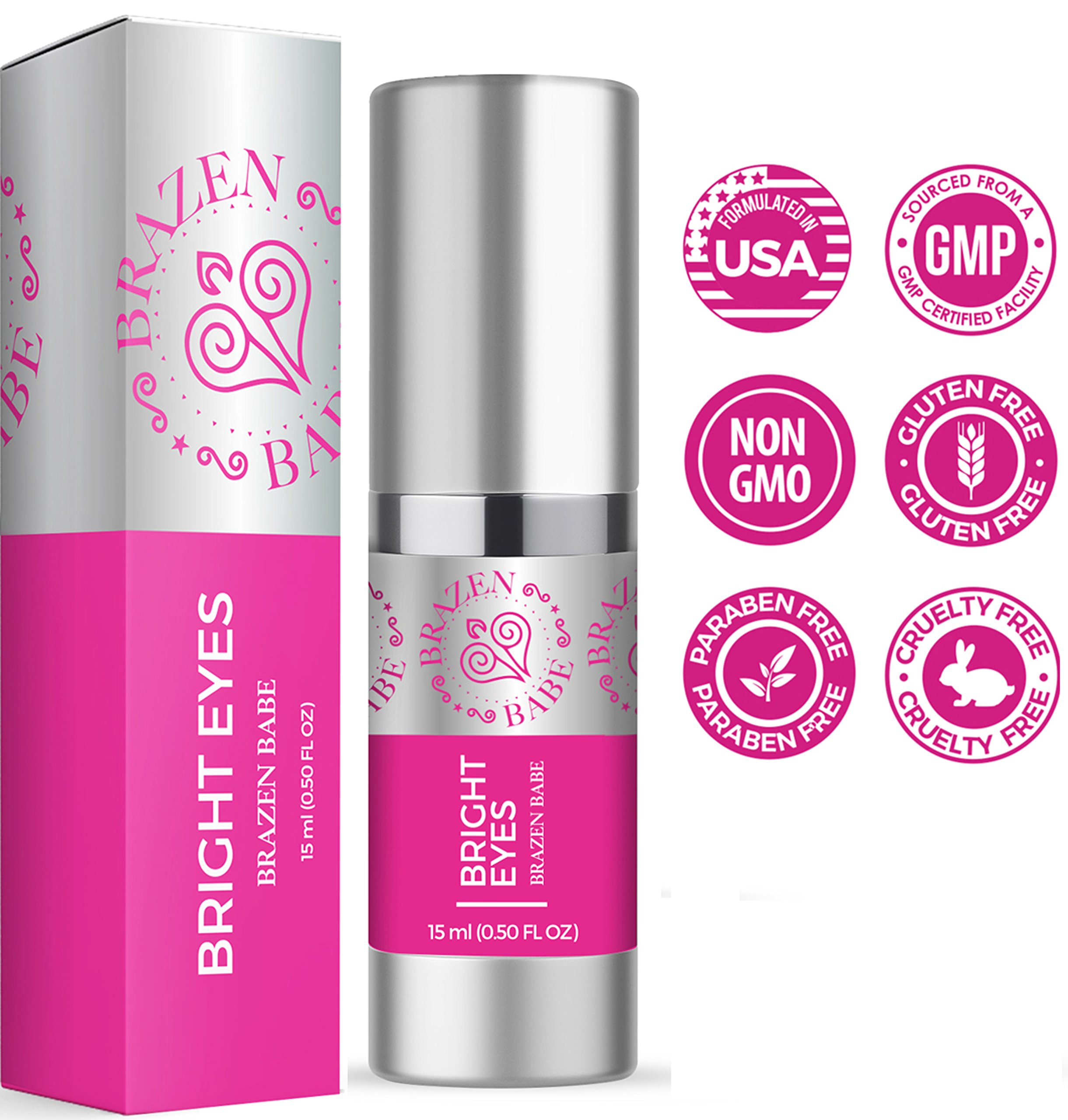 Eye Cream,''Bright Eyes'' by Brazen Babe- Eliminates Dark Circles, Puffiness, Fine Lines & Wrinkles-Scientifically Proven, Natural Moisturizing Treatment Brightens and Tightens by Brazen Babe (Image #1)