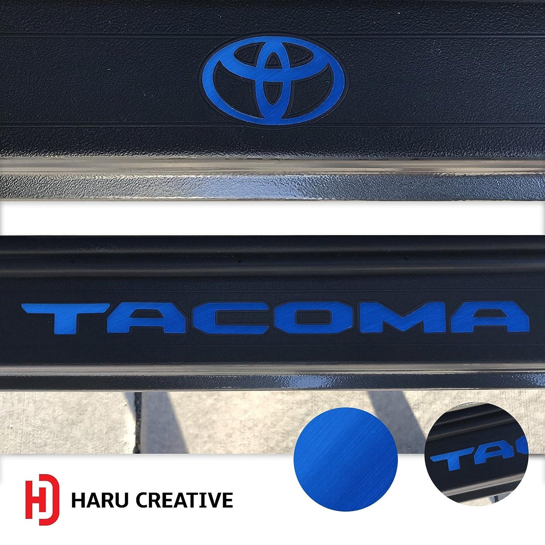 Glove Box Dashboard Door Sill Protector Overlay Insert Decal Haru Creative Rear Tailgate Metallic Brushed Aluminum Satin Chrome Blue Toyota Tacoma 2016 2017 2018 Full Decal Set