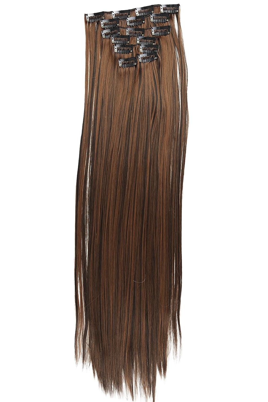 PRETTYSHOP XL 7 Teile Set Clip in Extensions 60cm Haarverlängerung Haarteil glatt blond mix #27H613 CE14 CE1_CE9