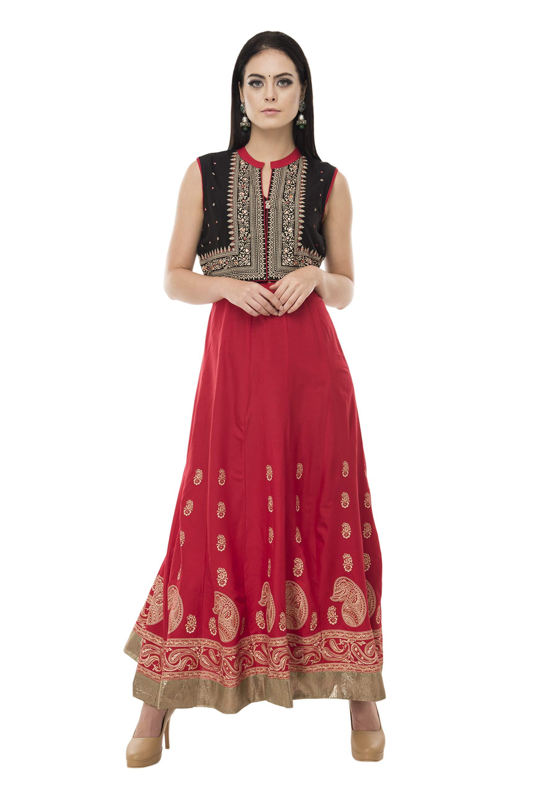 SABHYATA Womens Kurta Indian Kurtis for Women Cotton Casual Tunic Top Long Dress Large Black/RED