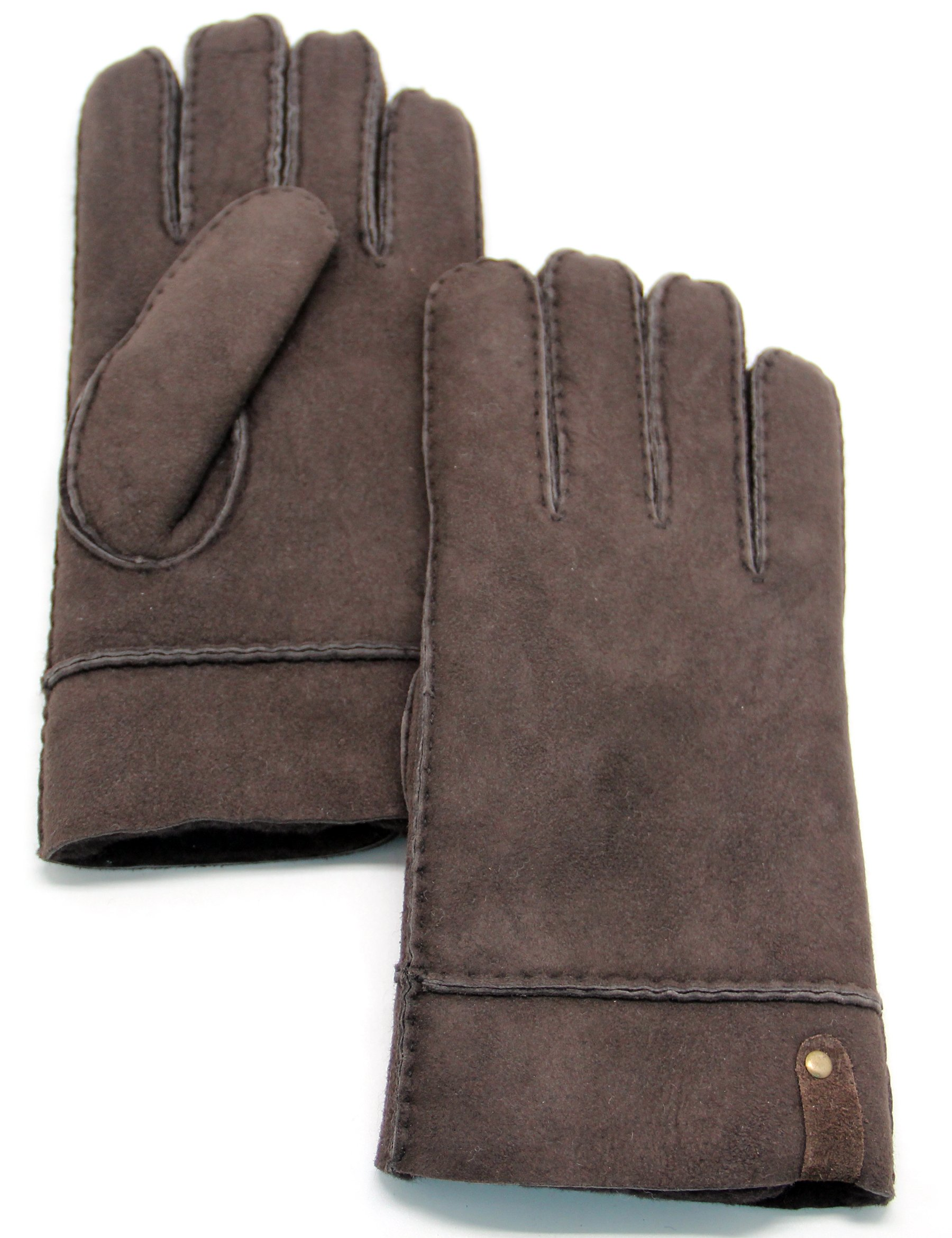 YISEVEN Men's Merino Rugged sheepskin Shearling Leather Gloves Plain Flat Design Soft Thick Furry Fur Lined Warm Heated Lining Flip Cuffs for Winter Dress Driving Work Xmas Gifts, Dark Brown Small