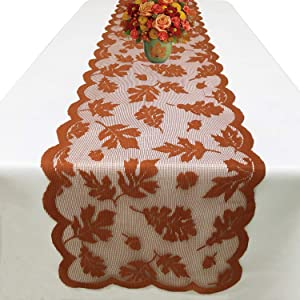 Joysail Fall Table Runner 72 Inch - Maple Leaf Lace Table Runner for Thanksgiving Dinner Party Table Decorations - Autumn Home Kitchen Restaurant Decor
