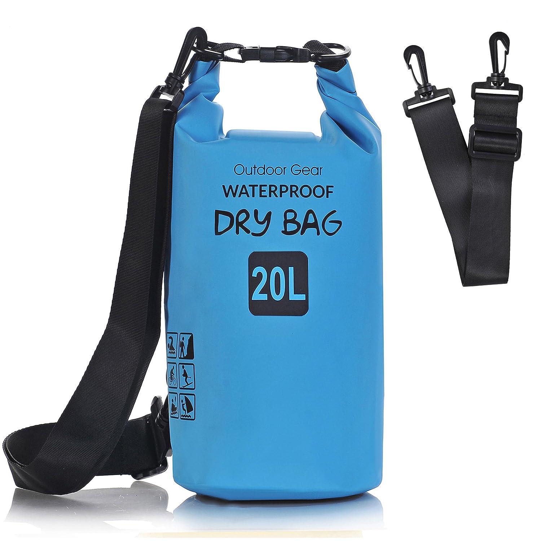 aokon防水ドライバッグ、ロールトップ防水カメラバッグ圧縮Gear Sackバックパックwith Adjustable Shoulderストラップforビーチボートカヤック、水泳、キャンプ、カヌー、ラフティング、釣り、ハイキング、 B06X9RHTVV ブルー 20L-Double Shoulder