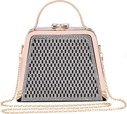 Hearty Trendy Crystal Glass Rhinestone Double Side Closure Evening Bag with Metal Frame and Handle