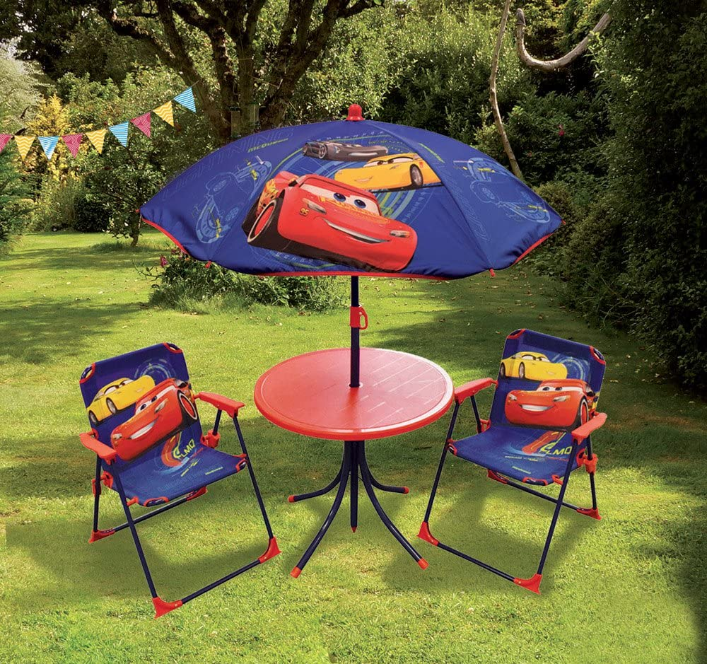 Fun House Lounge Set Disney Cars Childrens Includes 1/Table /& 2/Folding Chairs and Parasol