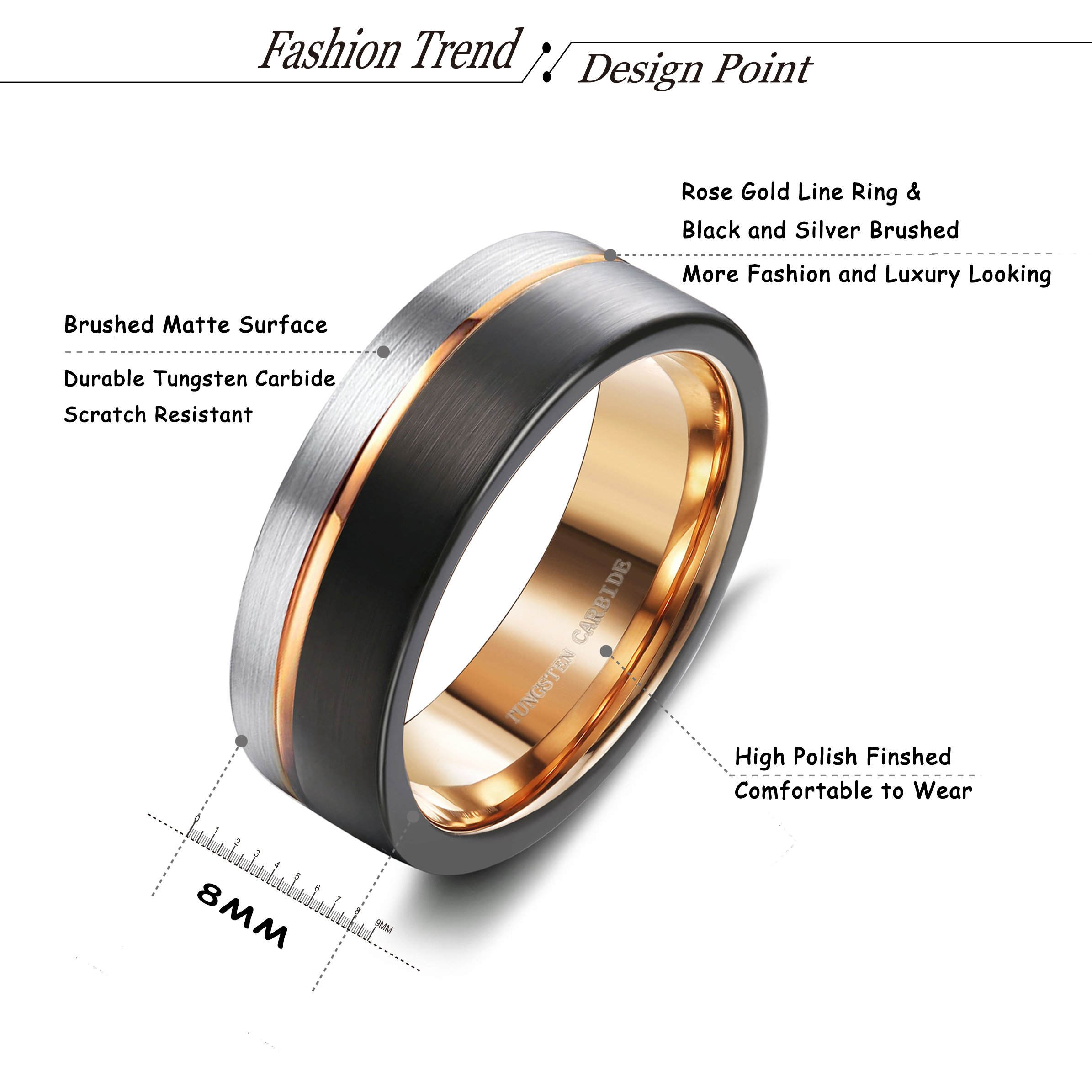 Tungary 8MM Tungsten Ring for Men Wedding Band Rose Gold Line Ring Black and Silver Brushed Size 12 by Tungary (Image #2)