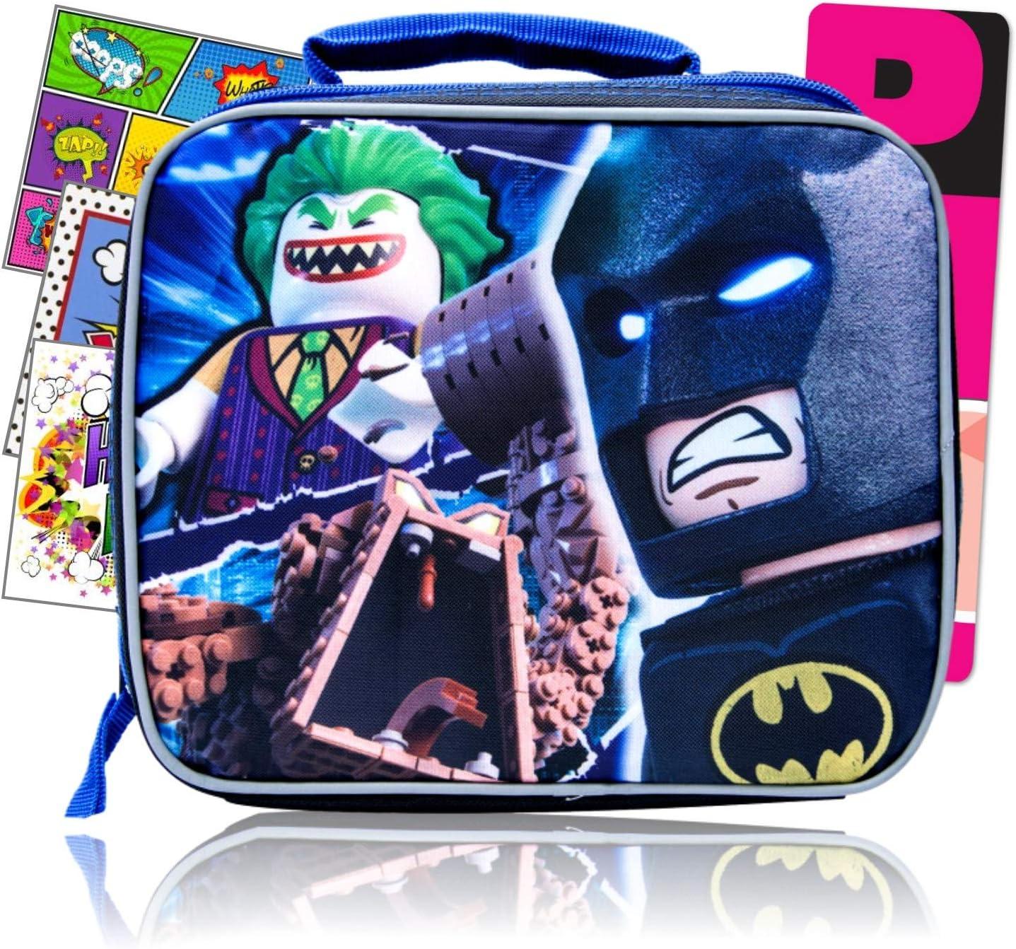 Lego Batman Kids Lunch Box Bundled with Specialty Separately Licensed GWW Reward Stickers & Bookmark