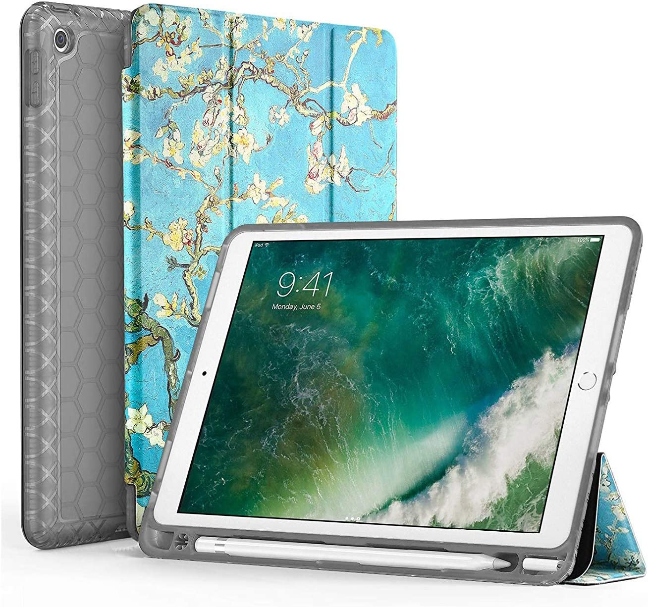 SWEES Compatible for iPad 9.7 2018/2017 Case with Pencil Holder, Shockproof Durable Smart Cover Leather Case with Built-in Pencil Holder Compatible for iPad 9.7 inch 6th/5th Generation, Blossom