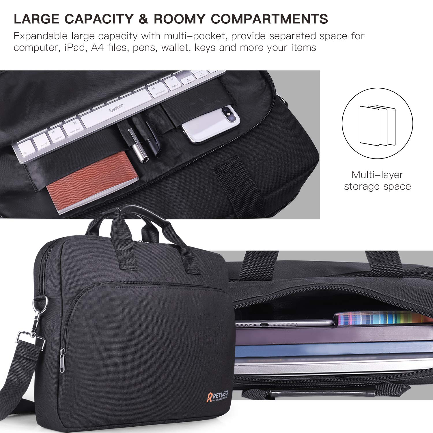 REYLEO 15.6 Inch Laptop Bag Travel Briefcase with Luggage Strap Water Resistant Shoulder Bag Business Messenger Briefcases for Men and Women Fits Laptop Computer Tablet, LCB1B by REYLEO (Image #2)