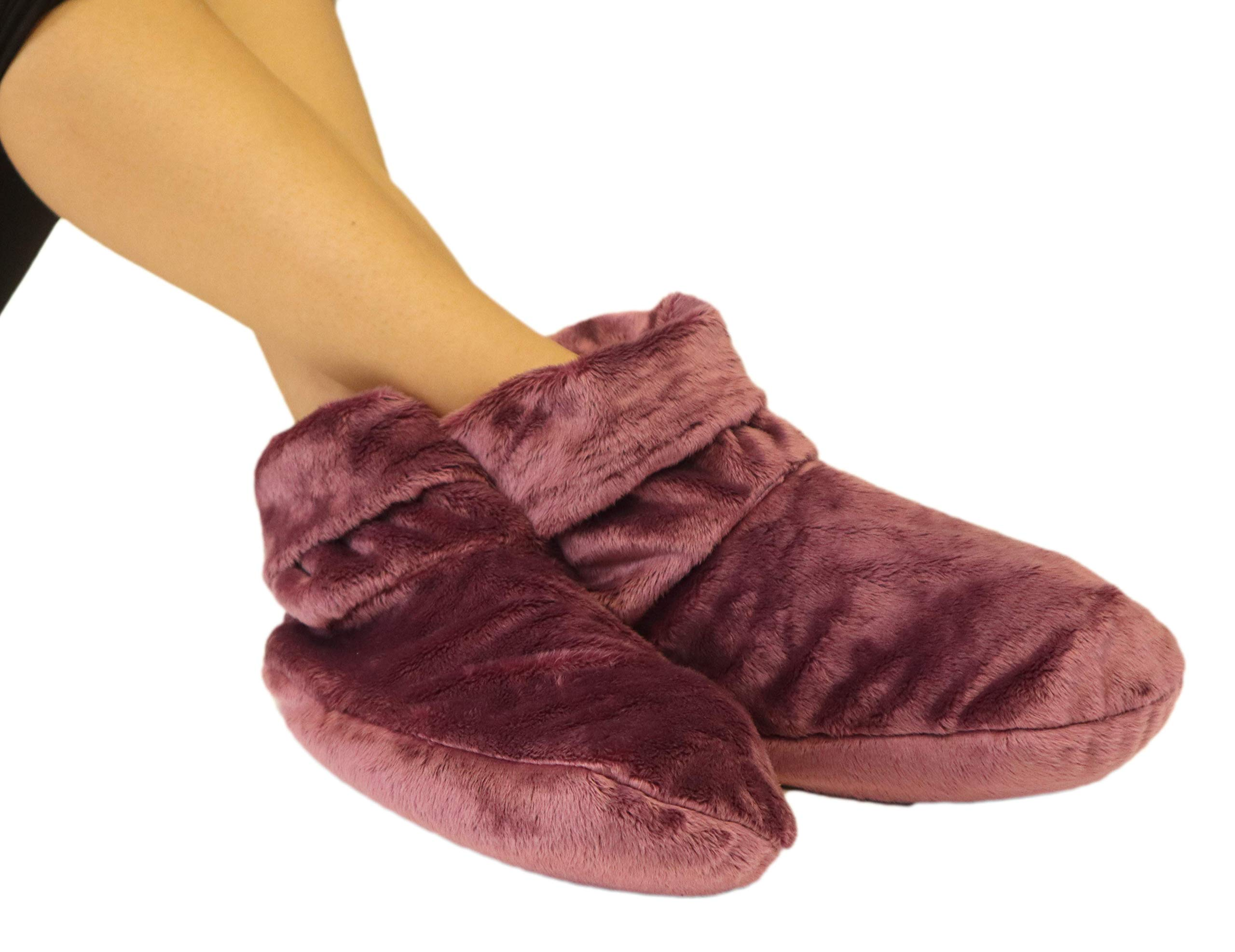 Heated Microwaveable Foot Booties - Herbal Hot/Cold Deep Penetrating Herbal Aromatherapy (Mauve) by MARS WELLNESS