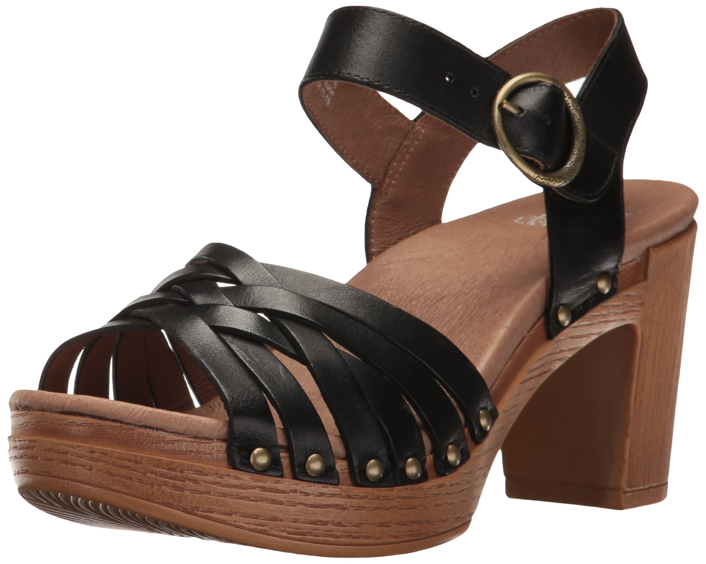 Dansko Women's Dawson Heeled Sandal, Black Full Grain, 36 EU/5.5-6 M US