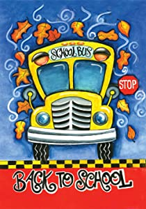 Toland Home Garden Back to School 28 x 40 Inch Decorative Colorful Fall Leaves Bus House Flag