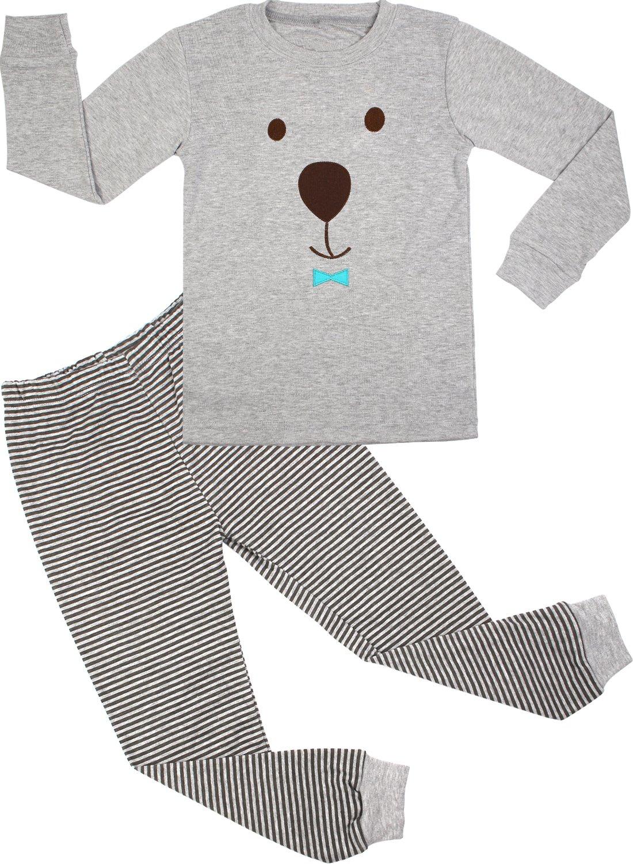 BOOPH Little Boys Sleepwears Set Pajamas 100% Cotton Clothes Toddler Kid Grey Bear