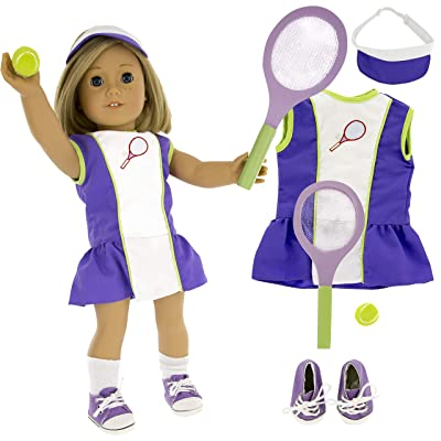 "Tennis Sports Doll Outfit (6 Piece Set) - Clothes for American Girl & 18"" Dolls - Includes Dress, Hat, Racket, Ball, Socks, & Shoes: Toys & Games"