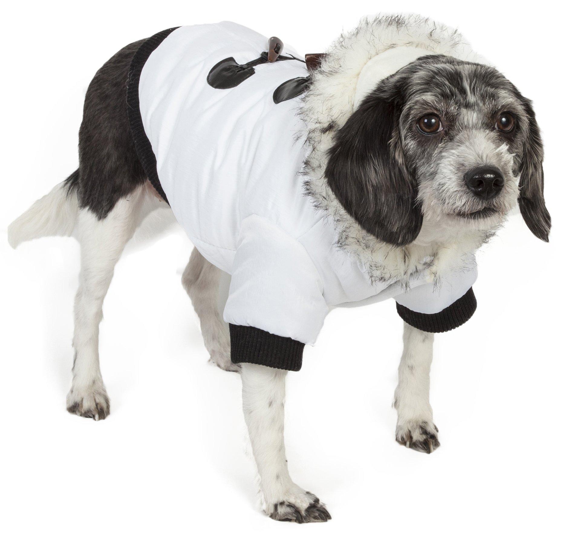 Pet Life Fashion Designer Aspen Winter-White Parka Pet Dog Coat Jacket w/3M Insulation Technology, X-Small, Winter White