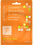 Andalou Naturals Instant Brighten & Tighten Hydro Serum Facial Mask, 0.6 Fluid oz, Single Use Fiber Sheet Mask, Targets UV Sun Damage, Supports Collagen and Elastin