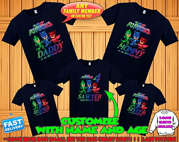Amazon PJ Masks Birthday Shirt Custom Personalized Pj Family Shirts T For Girls And Boys
