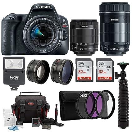 Canon Eos Rebel Sl2 Slr Camera W 18 55mm 55 250mm Lenses Bag 64gb Filters Flash Supreme Bundle