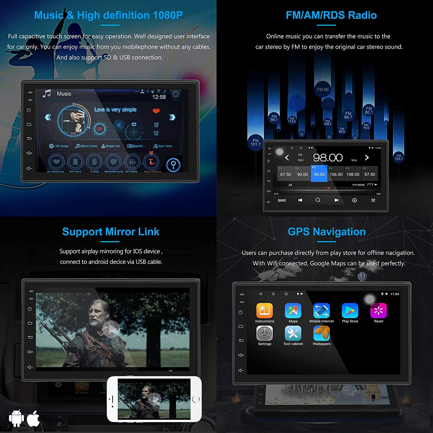 LEXXSON Android Car Stereo Din GPS Navigation Bluetooth inch Touch Screen RAM 32G ROM Car Radio Multimedia Player Support Mirror Link WIFI USB RDS AUX Subwoofer