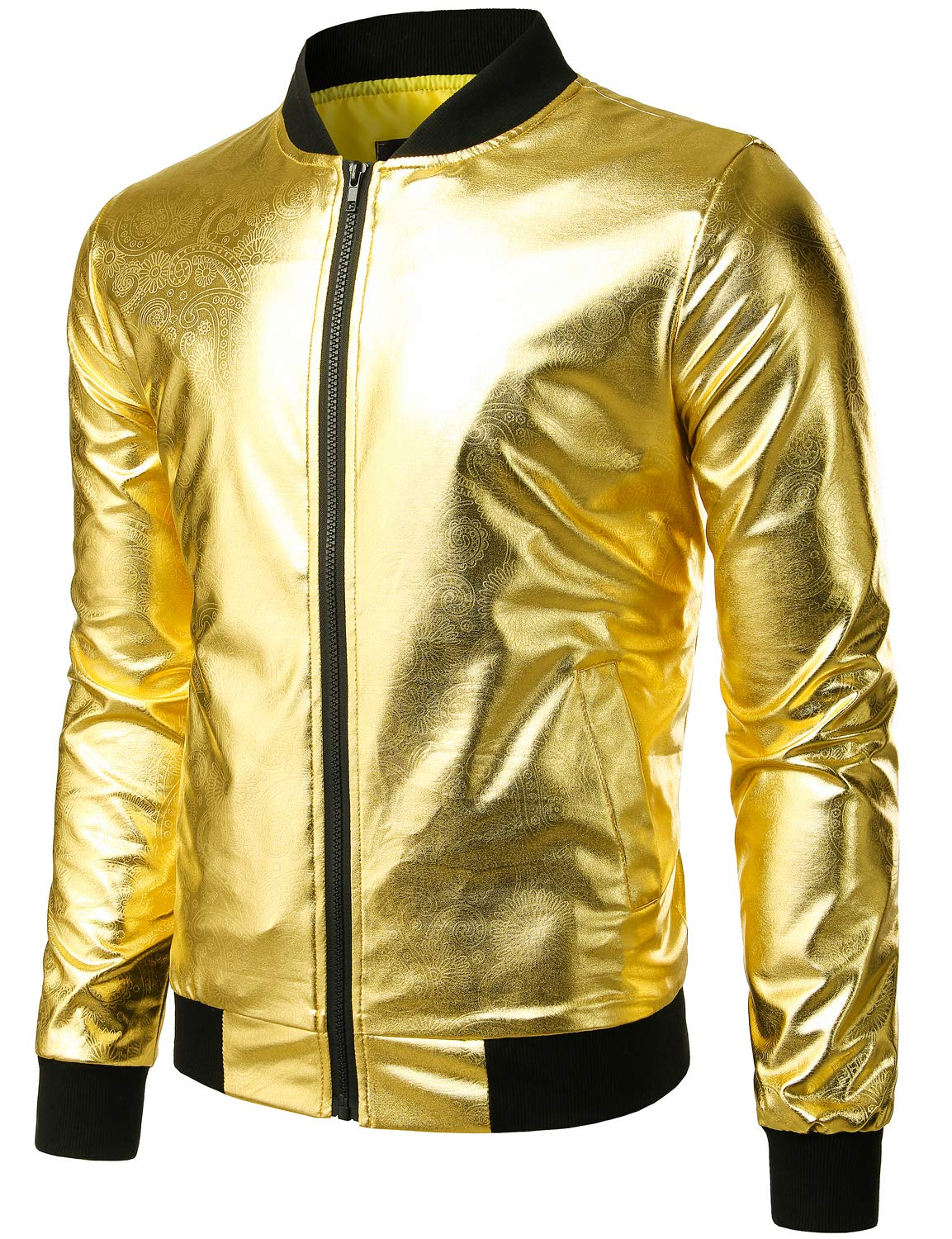 ZEROYAA Mens Hipster Geek Metallic Shinny Solid Paisley Floral Slim Fit Zip Up Baseball Varsity Bomber Jacket Z47 Gold XX Large by ZEROYAA