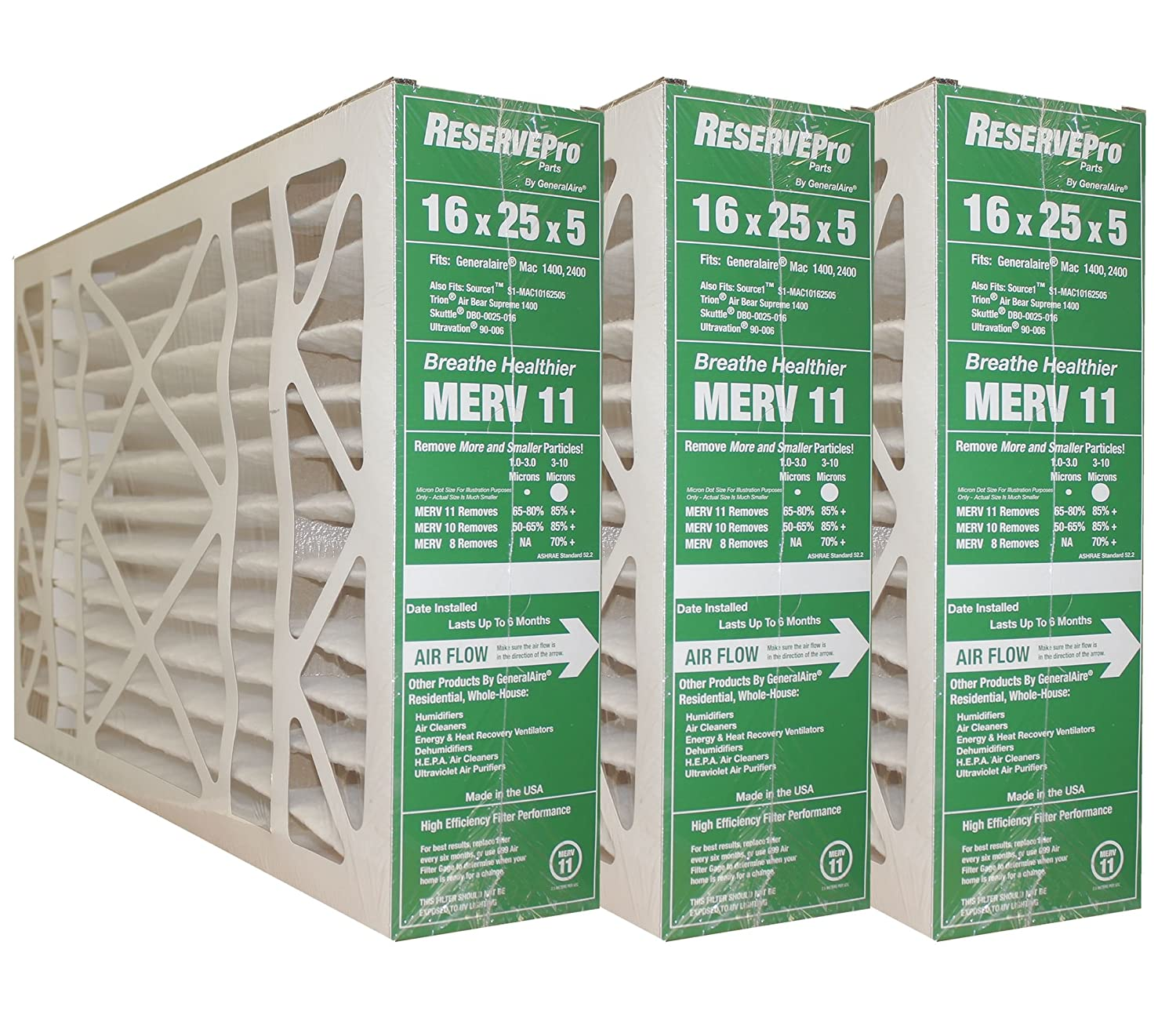 """3-PK ReservePro 4541 (old #4511) 16""""x25""""x5"""" Air Filter-Actual Size= 15 5/8 x 24 3/16 x 4 15/16-6FM1625"""
