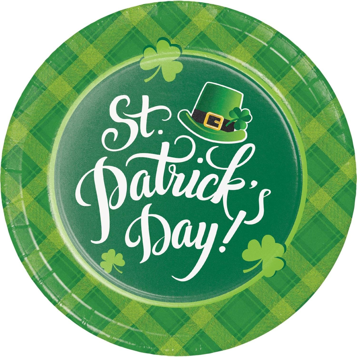 Pack of 96 Dark Green and Light Green St. Patrick's Day Printed Rounded Plate 8.875''