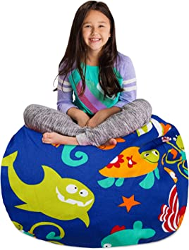 Canvas Bean Bag Covers Only for Stuffed Toys Animals Storage Royal Blue
