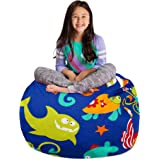 "Posh Stuffable Kids Stuffed Animal Storage Bean Bag Chair Cover - Childrens Toy Organizer, Large-38"" - Canvas Sea…"