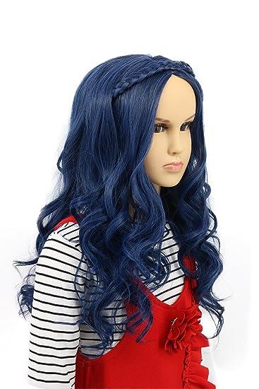 Amazon.com: karlery niños azul de onda larga peluca cosplay ...