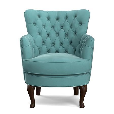 Charmant Amazon.com: Unique Portfolio Priscilla Turquoise Blue Velvet Petite Arm  Chair In Blue: Kitchen U0026 Dining