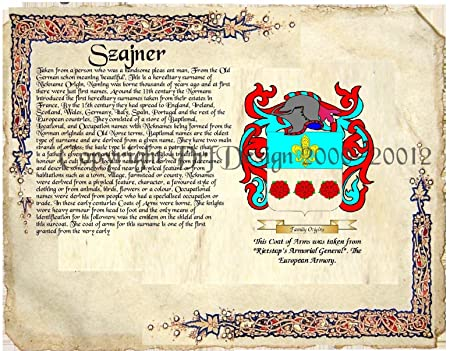 Szajner Coat of Arms/ Family Crest on Fine Paper and Family