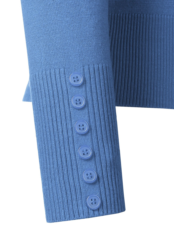 BIADANI Women Button Down Long Sleeve Soft V-Neck Cardigan Sweater Cobalt Large by BIADANI (Image #4)