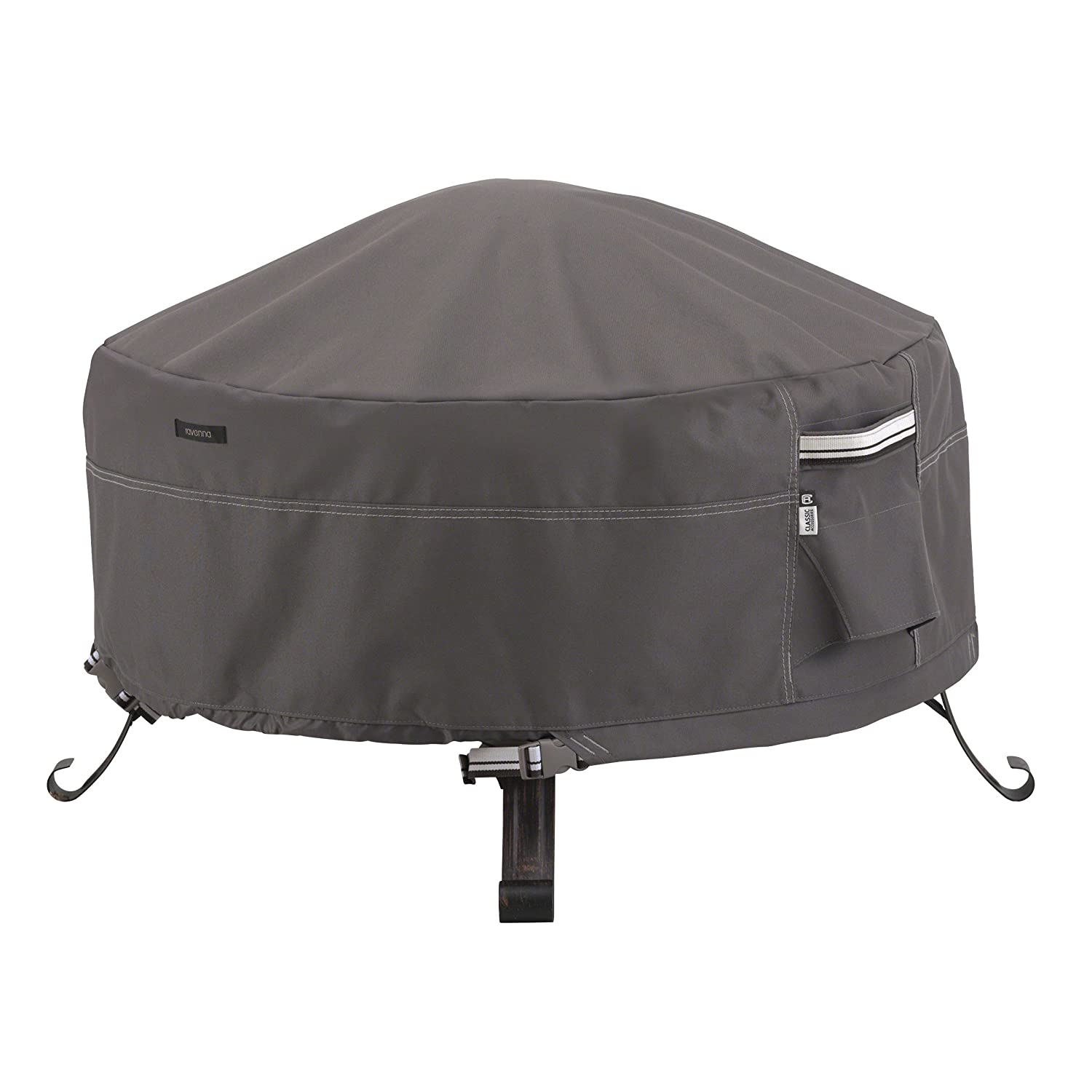 Classic Accessories 55-484-015101-EC Ravenna Full Coverage Round Fire Pit Premium Outdoor Cover with Durable and Water Resistant Fabric, Taupe, 30-Inch