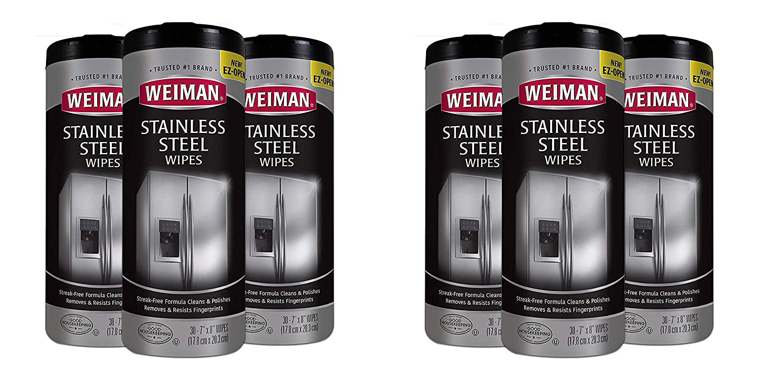 Weiman Stainless Steel Cleaner Wipes (3 Pack) Removes Fingerprints, Residue, Water Marks and Grease from Appliances - Works Great on Refrigerators, Dishwashers, Ovens, and Grills Pack of 2
